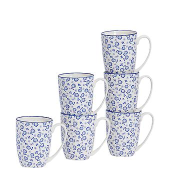 Nicola Spring 6 Piece Daisy Patterned Tea and Coffee Mug Set - Large Porcelain Latte Mugs - Navy Blue - 360ml