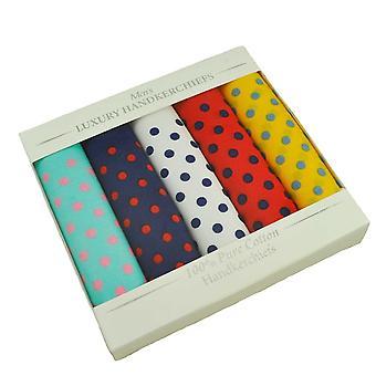 Ties Planet 100% Cotton Men's Xl Handkerchief, Bandana 5-pack Set - Colourful Polka Dots