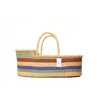 Cosy Coco Natural Handwoven Baby Moses Basket & Mattress   Stripes