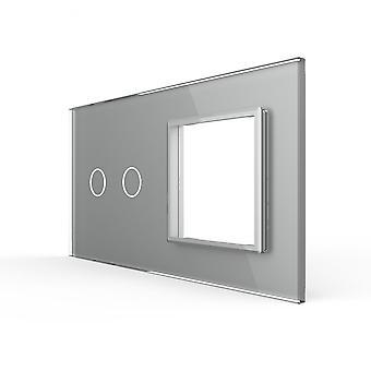 Eu Standard-2gang & 1 إطار لوحة زجاجية للتبديل تانس المقبس (151mm * 80mm -)
