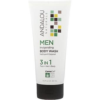 Andalou Naturals Men Invigorating Body Wash, 8.5 Oz