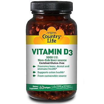 Country Life Vitamin D3, 5000 IU, 60 Softgels