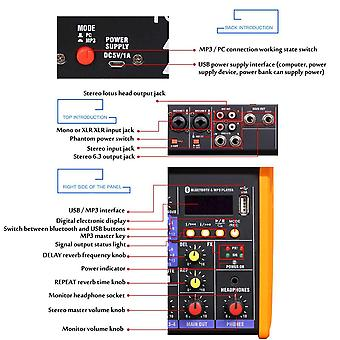 Mini Portable Audio Mixer With Usb Dj Sound Mixing Console Mp3 Jack 4 Channel Karaoke 48v Amplifier