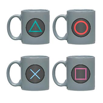 Playstation Game Controller Buttons Mini Mug Set