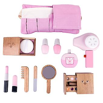 12pcs Wooden Makeup Pretend Play Set, Simulation Hair Dryer Toys