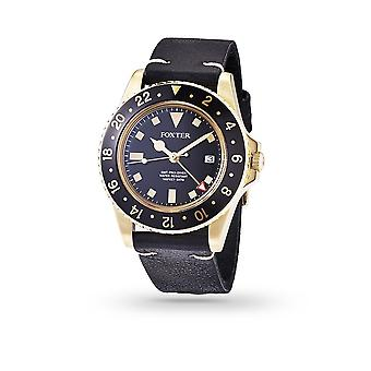 Foxter Sixties men's watch black leather strap, gold PVD case and black background - SIXTIES1