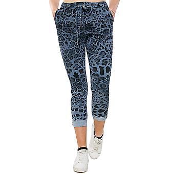 Leopard Magic Pants Stretchy Trousers | Denim Blue | Regular