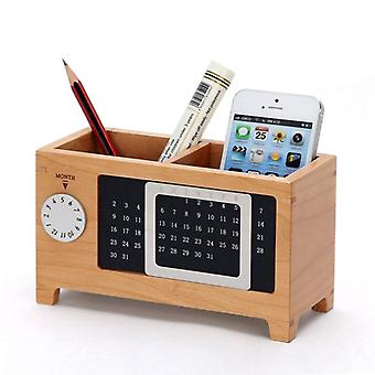 Wood Perpetual Calendar-stationery Storage Box