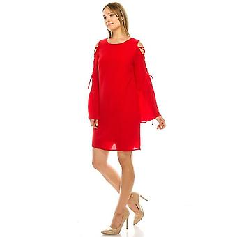 Shift Dress With Laced Ruffle Sleeves