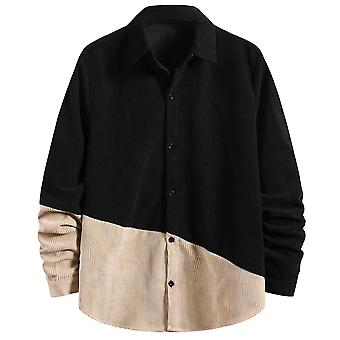 Yunyun Men's Corduroy Button Down Regular Fit Stitching Casual Soft Top Shirt