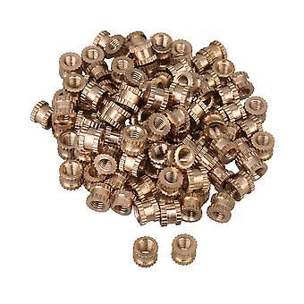 100Pcs Brass Knurled Nuts Thumb Nuts Insert Nuts M3 Thread 4mm Length