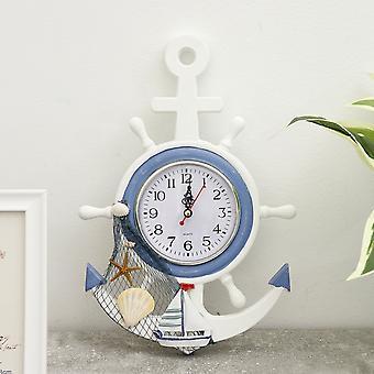 Wall clocks mediterranean style clocks wall hanging rudder watch creative living room home decor horloge