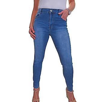 Women's Stretch Denim Jeans Ladies Casual Scratch Detail Slim Leg High Waist Jeans