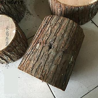 Retro Fir Bark Tree Stump Stool Hollow Artificial Adereços Fotográficos Casamento