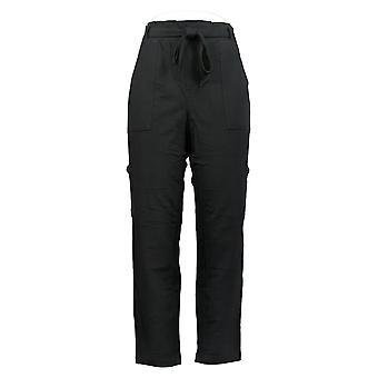 Nogen Kvinder ' s Bukser Regelmæssig fransk Terry w / Paperbag Waist Sort A367666