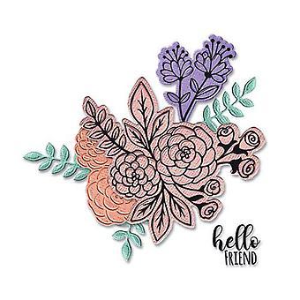 Sizzix Framelits Die Set - 6pk W/Stamps - Floral Bunch 665064 Jen Long-Philipsen