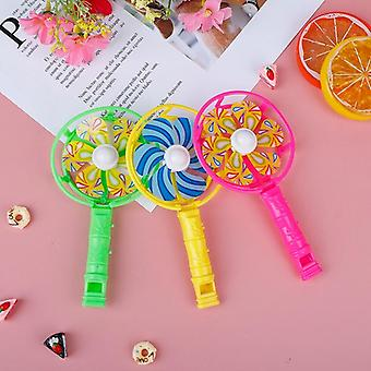Cute Baby Kids Windmill Toy Colorful Small Plastic Whistling Handle Pinwheel