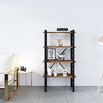 Librería de línea negra, madera de metal, chipboard de melamina, L70xP35xA150 cm, L62xP29xA34.5 cm