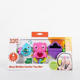 Bright starts busy birdies carrier toy bar pink