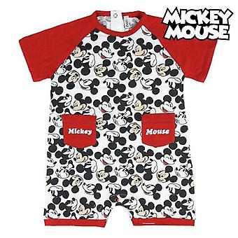 Baby's short-sleeved romper suit mickey mouse red white
