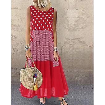 Polka Dot Long Sundress Autumn Pacthwork Dress