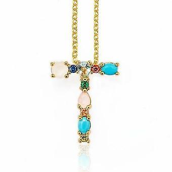 Multicolor Charm Gold Pendant Necklace Micro Pave Zircon Initial 26