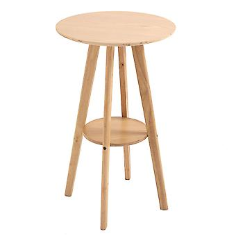 HOMCOM Bar Table Round Cocktail Bistro Table with Wood Legs for Pub, Dining Room, Kitchen & Home bar