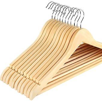 Wokex 32 STK. Kleiderbgel aus Holz mit Rockkerben und Hosensteg, 360 Grad drehbar, Jackenbgel