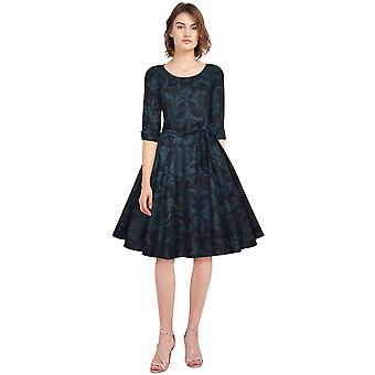 Chic Star Kurzarm Retro Kleid In blau/Blatt