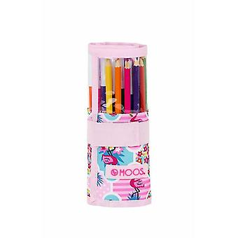 Pencil Case Moos Flaming Roll-up Pink (27 Pieces)