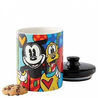 Romero Britto Mickey Mouse And Pluto Small Cookie Jar