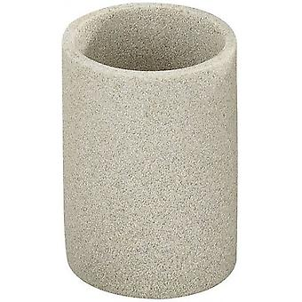 badkamer beker 7,1 x 10 cm polyresin beige