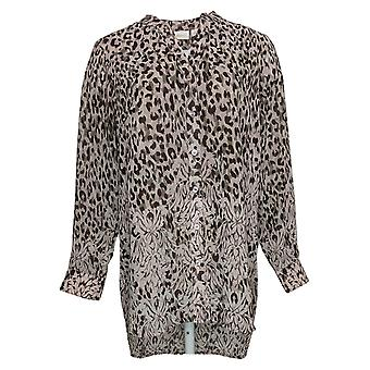 Belle by Kim Gravel Women's Top Animal Print Button Front Pink A374478