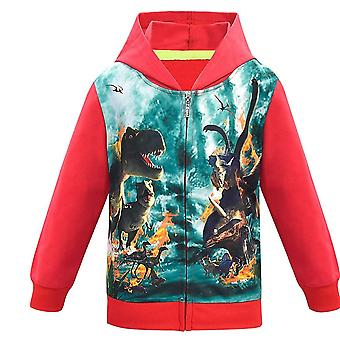 Syksy/talvi- Jurassic Park Dinosaur Print Hupullinen takki