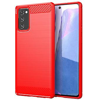 Tpu carbon fibre case for samsung note20 ultra red mfkj-616