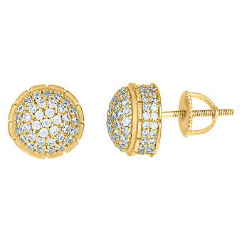925 Sterling Silver Yellow tone Mens Cubic zirconia Round Cluster Stud Earrings Jewelry Gifts for Men