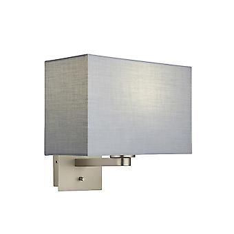 Applique murale plaque nickel mate, tissu gris abat-jour rectangulaire avec prise USB