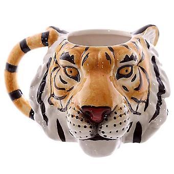 3d Animal Tiger Head Ceramic Mug Painted Animal Drink Water Cup