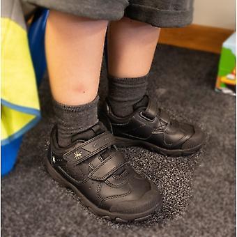 Start-Rite Tarantula Boys Leather Touch Fasten School Shoes Black