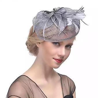 Pena malha casamento noiva noiva cocar cabeça de cabeça chapéu de cânhamo