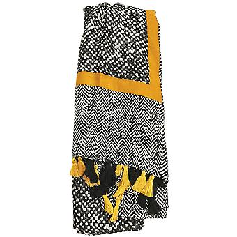 Black and Yellow Simply with Tassels Scarf by Butterfly Fashion London