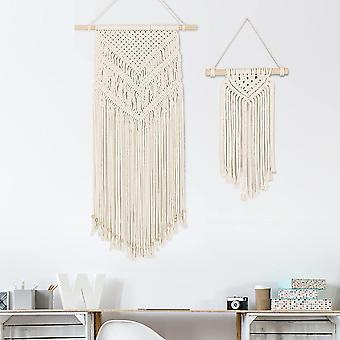 2 Stück Makramee Wandbehang, Kleine Kunst Gewebte Wanddeko Boho Chic Home Deko Apartment Geschenke