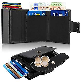 Multifunkční kovová peněženka s RFID přezkou tri-fold automatická peněženka (černá)