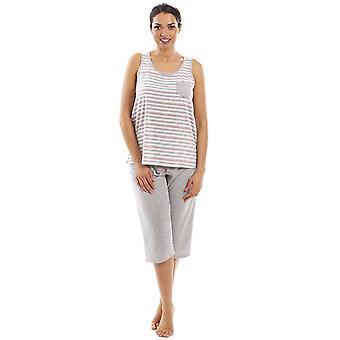 Camille Womens Lightweight Striped Capri Bottom Pyjama Set Grey