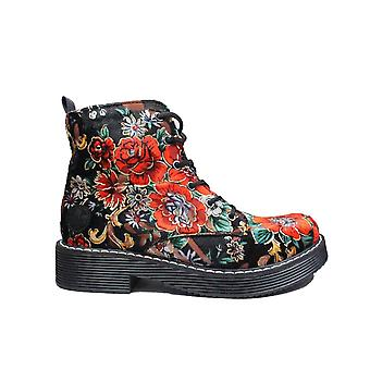Rieker 70010-90 Black Floral Velour Womens Chunky Ankle Boots