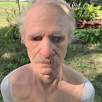 Halloween Cosplay Bald Old Man Face Mask Party Prop Adult