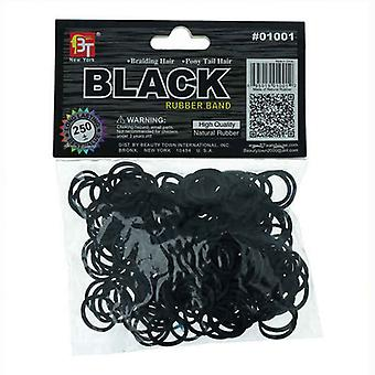 Rubber Hair Bands Beauty Town Black (250 uds)
