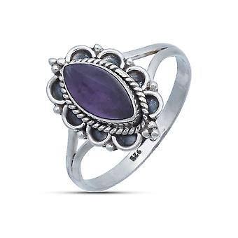 Ring Zilver 925 Sterling Zilver Amethist Purple Stone (Nr: MRI 152)