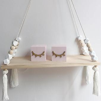 (Blanco) Lindo woodedd almacenamiento cuerda swing pared colgante estante estante titular habitación decoración de la casa