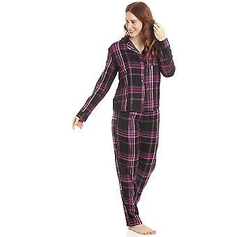 Camille Naisten Musta & Vaaleanpunainen Checkered Flannel Pyjama Setti